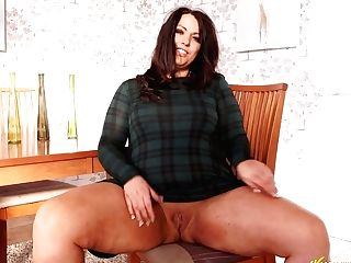 Bbw In Brief Miniskirt Anna Lynn Takes Off Undies And Sits On The Stool With Her Gams Spread Broad Open