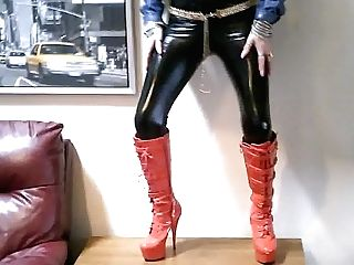 My Pvc Bitch Dances In Her Crimson Platforms
