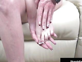 Mega Cougar Shanda Fay Gets A Geyser Of Jizz On Her Toes & Feet!