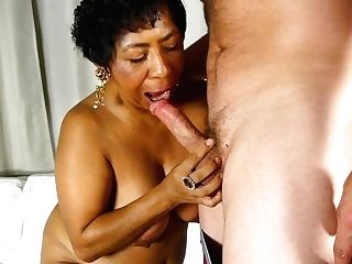 Beautiful Big-titted Black Oldspunker Loves Jizz All Over Her Tits