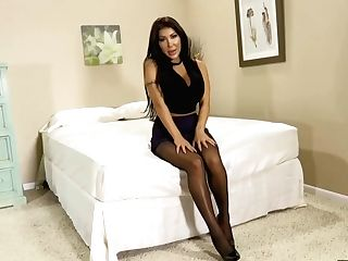 Gorgeous Brown-haired With Big, Rock-hard Tits Is Anxiously Touching Her Beaver While Wearing Black Nylons