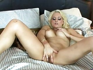 Enticing Jaw Ripping Off Blonde Honey In Undergarments Is Ready To Finger Her Twat