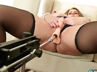 Voluptuous Woman, Kerry Martin Is Getting Booty-fucked By A Sex Machine And Luving It A Lot