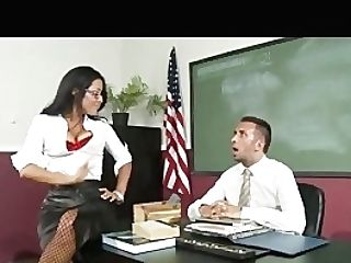 Big Tit Brown-haired Mexican School Tutor In Stilettos Fucks Aid In Class