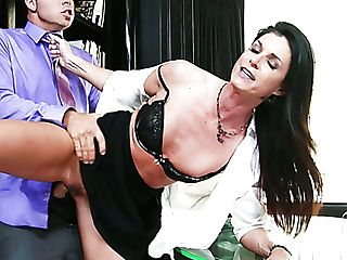 Hot Brown-haired Chick India Summer Gets Her Cooter Hammered At The Office