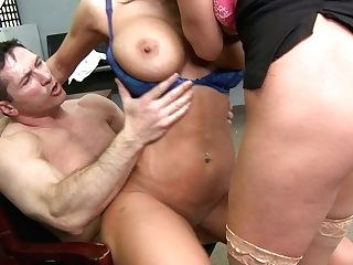 Perverted Whores Nikki Sexx And Ariella Ferrera Fuck John Strong In The Office
