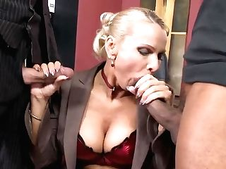 Blonde Mummy Gets Fucked By Milky And Black Guys