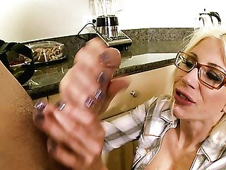 Horny Housewife With Silicone Baps Fellates Plumber's Hard Pecker